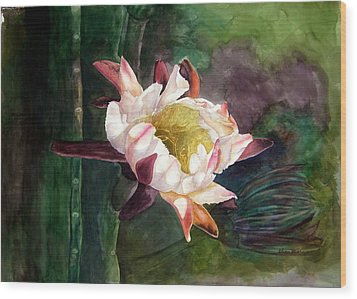 Wood Print featuring the painting Night Blooming Cereus by Sharon Mick