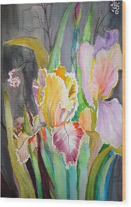 Wood Print featuring the painting Night Blooms by AnnE Dentler