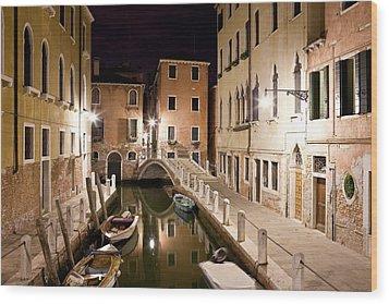 Night Bridge Wood Print by Marco Missiaja