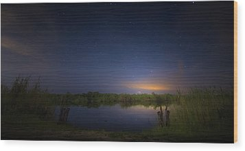 Night Brush Fire In The Everglades Wood Print by Mark Andrew Thomas