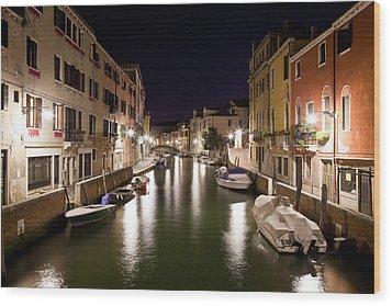 Night Canal Wood Print by Marco Missiaja