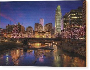Night Cityscape - Omaha - Nebraska Wood Print