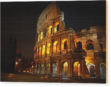 Night Colosseum Wood Print by Kevin Flynn