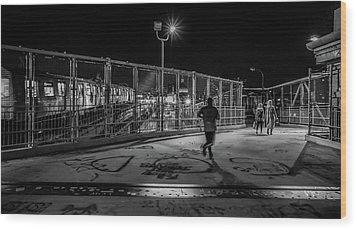 Night Commute  Wood Print