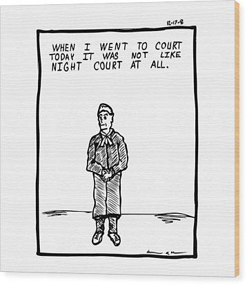 Night Court Comic Wood Print by Karl Addison