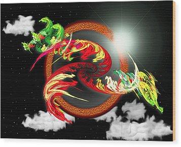 Wood Print featuring the digital art Night Dragon by Mario Carini