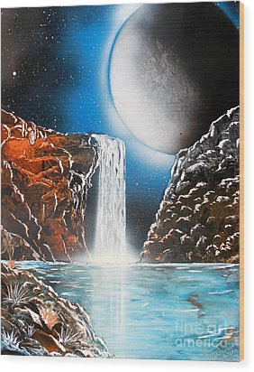 Wood Print featuring the painting Night Falls 4679 by Greg Moores