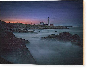 Wood Print featuring the photograph Night Falls On Portland Head by Rick Berk