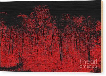 Night Fire Wood Print