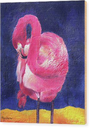 Night Flamingo Wood Print by Noga Ami-rav