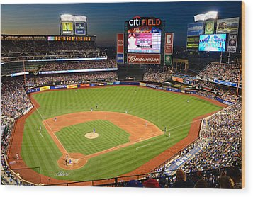 Night Game At Citi Field Wood Print
