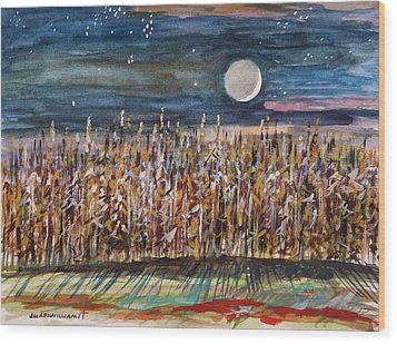 Night In The Cornfield Wood Print by John Williams