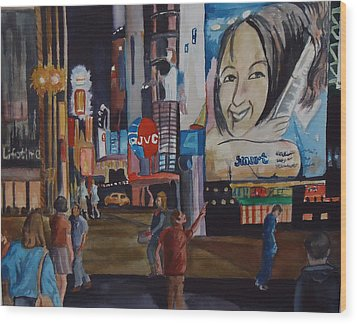 Night In Time Square Wood Print