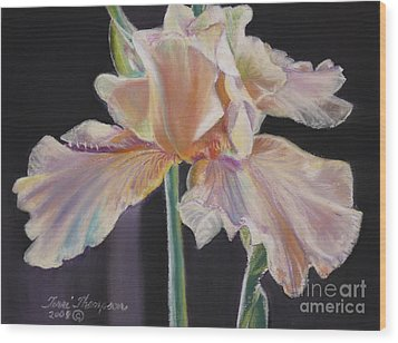 Wood Print featuring the pastel Night Iris by Terri Thompson