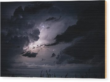 Night Lightening Wood Print