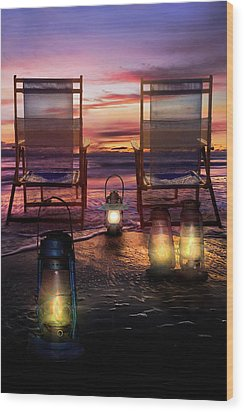 Wood Print featuring the photograph Night Lights At Sunset by Debra and Dave Vanderlaan
