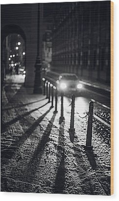 Wood Print featuring the photograph Night Lights. Prague by Jenny Rainbow