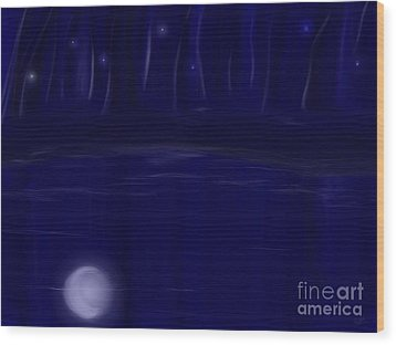 Wood Print featuring the painting Night Lights by Roxy Riou
