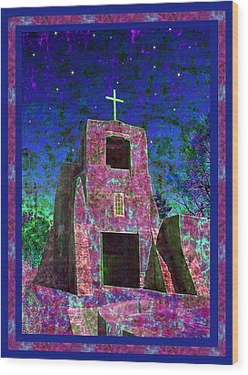 Night Magic San Miguel Mission Wood Print by Kurt Van Wagner