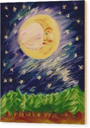 Wood Print featuring the painting Night Moon by Shelley Bain