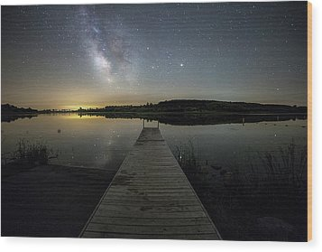 Wood Print featuring the photograph Night On The Dock by Aaron J Groen