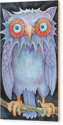 Wood Print featuring the painting Night Owl by Lora Serra