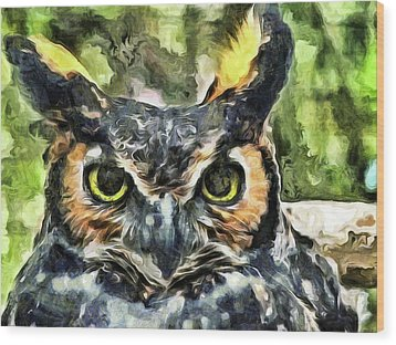 Wood Print featuring the mixed media Night Owl by Trish Tritz