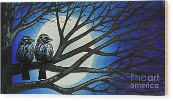 Wood Print featuring the painting Night Perch by Michael Frank