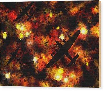 Night Raid - Lancaster Bomber Wood Print by Michael Tompsett