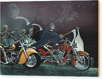 Night Riders Wood Print