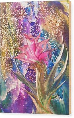 Night Rose Wood Print by John Vandebrooke