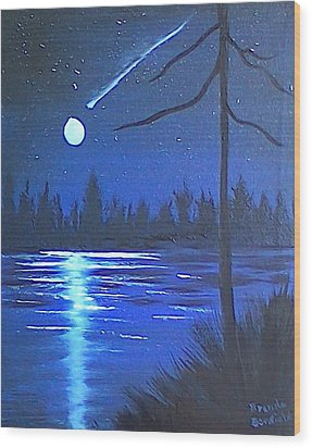 Night Scene Wood Print by Brenda Bonfield