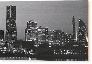Night Scene Of Yokohama Wood Print by Snap Shooter jp