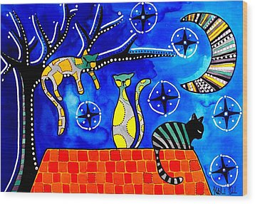 Night Shift - Cat Art By Dora Hathazi Mendes Wood Print