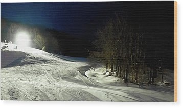 Wood Print featuring the photograph Night Skiing At Mccauley Mountain by David Patterson