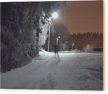 Wood Print featuring the photograph Night Skiing by Sami Tiainen