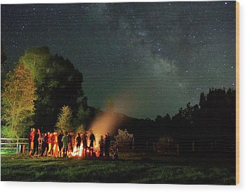 Night Sky Fire Wood Print by Matt Helm