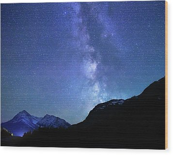 Wood Print featuring the photograph Night Sky In David Thomson Country by Dan Jurak