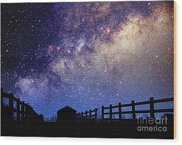 Night Sky Wood Print by Larry Landolfi and Photo Researchers