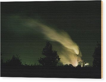 Night Steaming Wood Print