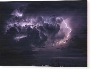 Night Storm Wood Print