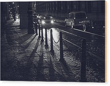 Wood Print featuring the photograph Night Street Of Prague by Jenny Rainbow