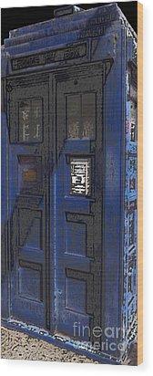 Night Tardis Wood Print by Rhonda Chase