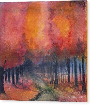 Night Time Among The Maples Wood Print
