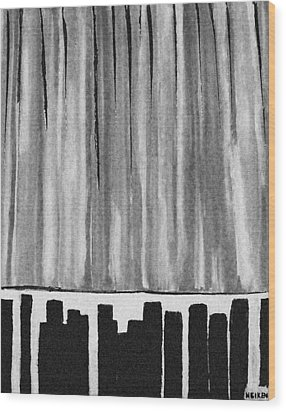 Night Time Downtown Wood Print by Marsha Heiken