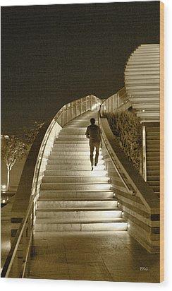 Night Time Stairway Wood Print by Ben and Raisa Gertsberg