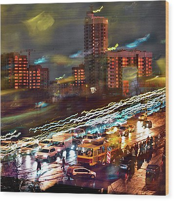Wood Print featuring the photograph Night Traffic by Vladimir Kholostykh