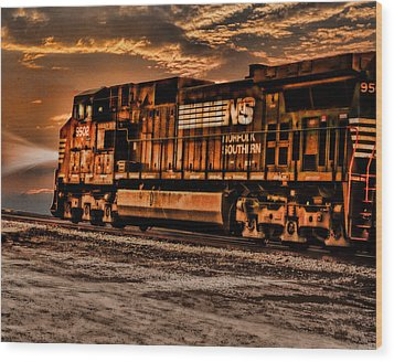 Night Train Wood Print