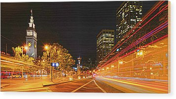 Night Trolley On Time Wood Print