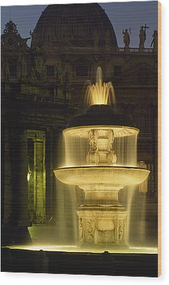 Night View Of A Fountain Outside Saint Wood Print by James L. Stanfield